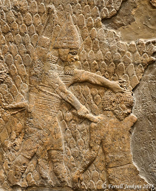 An Assyrian warrior kills one of the locals at Lachish. Photo by Ferrell Jenkins.