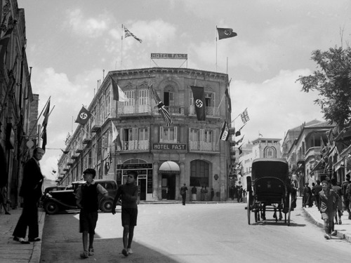 Photo taken on Coronation Day of King George VI in 1937. The Fast Hotel, on lower Jaffa Road, was owned by a Templer family.