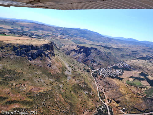 Aerial view of Arbel, Wadi Hamam, and the Via Maris. Photo by Ferrell Jenkins.