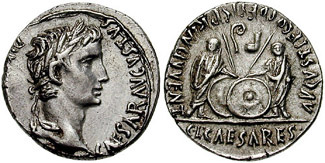 Coin of Augustus showing shields, lituus, and simpulum.