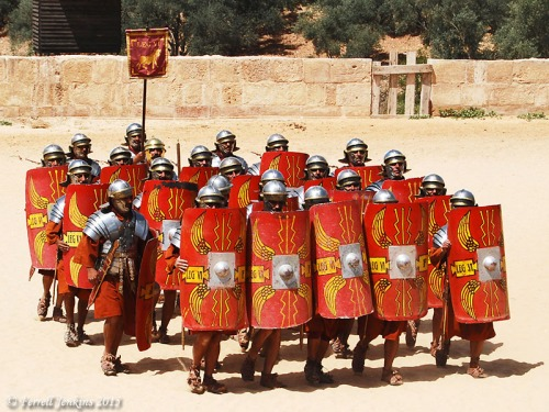 Enactment of soldiers of the 6th Roman Legion. Photo by Ferrell Jenkins.