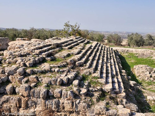 Monumental steps mark the site of Herod's Temple to Augustus. Photo by Ferrell Jenkins.