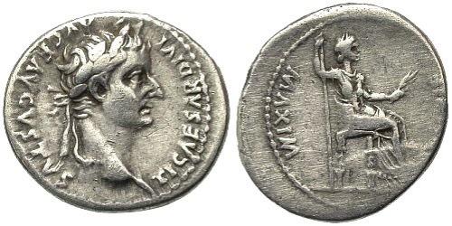 Denarius minted by Emperor Tiberias.
