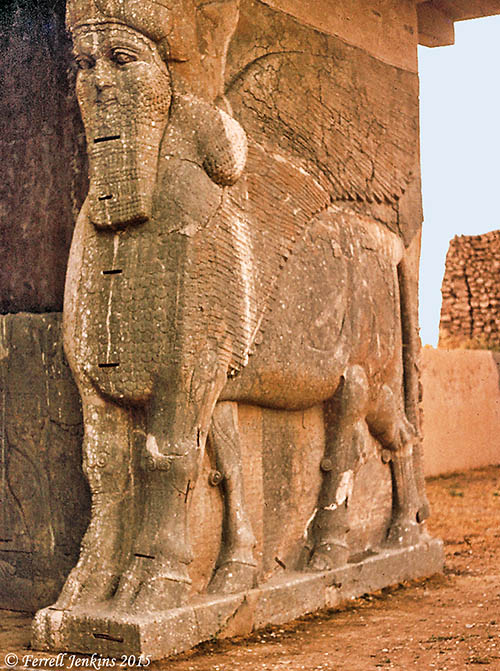 A Lamassu at one of the entries to Assyrian Nimrud. Photo by Ferrell Jenkins, 1970.