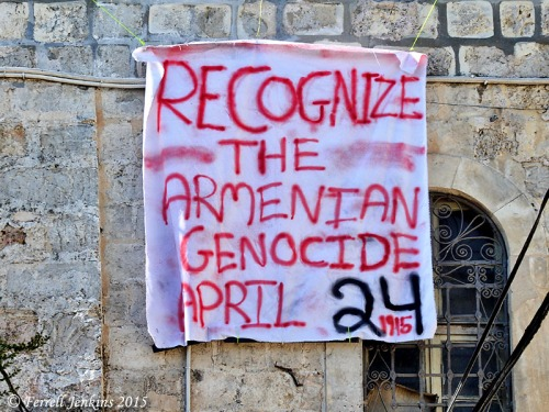 Sign calling attention to the Armenian Genocide. Photo by Ferrell Jenkins.