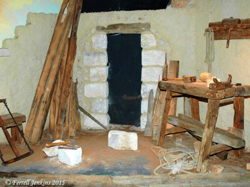 A carpenter's shop at Nazareth Village, showing woodwork and stone work. Photo by Ferrell Jenkins.