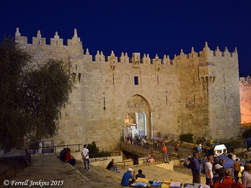 Damascus Gate at Night. Photo by Ferrell Jenkins.