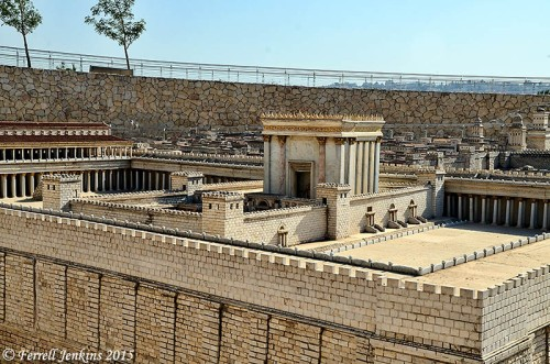 Model of Herod's Temple now displayed on the grounds of the Israel Museum. It was in this large area where the gospel of Christ was first preached in its fullness by Peter and the other Apostles on the first Pentecost after the resurrection of Christ. Photo by Ferrell Jenkins.