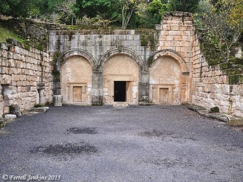 "Facade of the ""Sarcophagi Cave"" at Beit She'arim. Photo by Ferrell Jenkins."