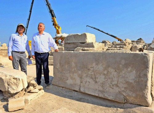 This marble slab discovered at Laodicea contains a code of laws protecting the water supply of the city of Laodicea in the early second century A.D. (Photo credit: AA photo)