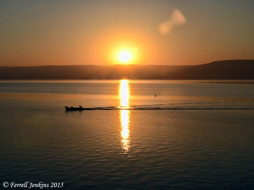 Sunrise on the Sea of Galilee, May 17, 2015, 5:54 a.m. Photo by Ferrell Jenkins.