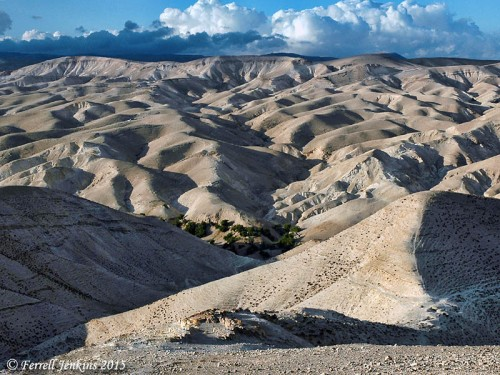 The wilderness of Judah with a view of Wadi Qelt visible. Photo by Ferrell Jenkins.