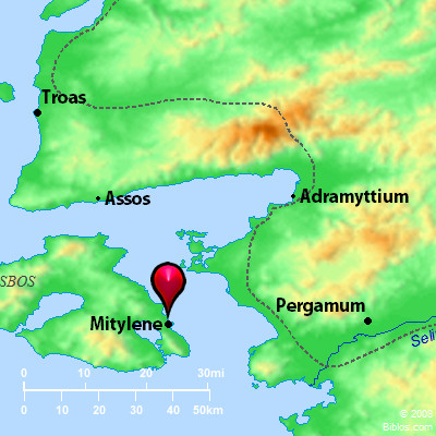 The island of Lesbos is close to modern Turkey. Credit: biblos.com.