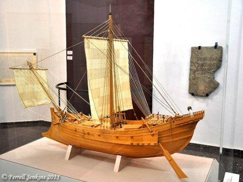 Model of ship like Paul would have used on his voyage to Rome. Rali Museum, Caesarea, Israel. Photo by Ferrell Jenkins.