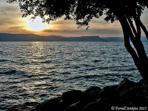 Sunset from En Gev on the eastern shore of the Sea of Galilee. Photo by Ferrell Jenkins.