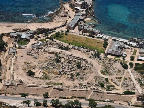Aerial view of Caesarea Maritima showing area of the Byzantine church ruins. Photo by Ferrell Jenkins.