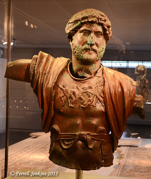 Bronze statue of Hadrian discovered in a Roman army camp of the Sixth Roman Legion. He is portrayed as the supreme military commander. Photo by Ferrell Jenkins.