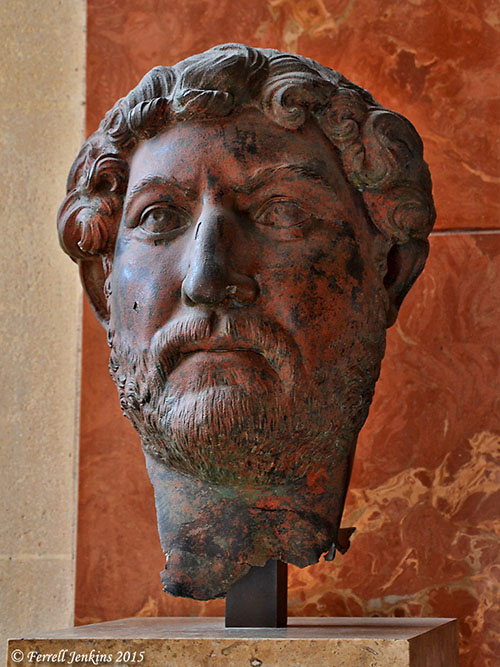 Bust of Hadrian thought to have come from Egypt. Louvre. Photo by Ferrell Jenkins.