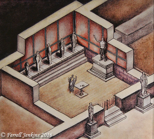 Artist conception of the chamber of the Imperial Cult. Photo by Ferrell Jenkins.