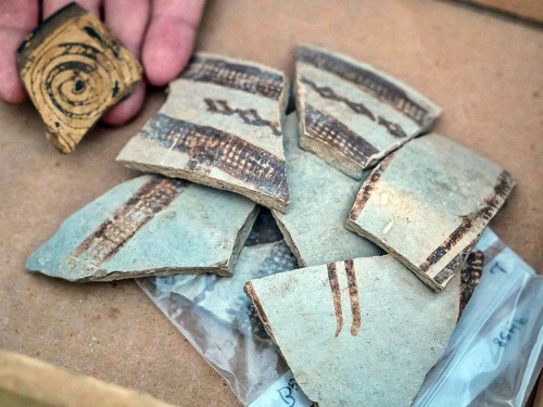 Fragments of decorated pottery vessels imported from Cyprus and Greece 3,400 years ago. Photo: IAA.