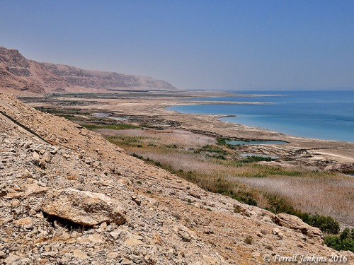 Sinkholes along the western shore of the Dead Sea. Photo by Ferrell Jenkins.