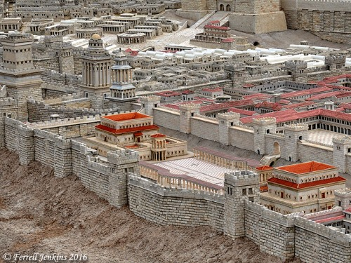 The Second Temple Model at the Israel Museum shows the location of the Palace of Herod Antipas and the Pretorium of Pontius Pilate. Photo by Ferrell Jenkins.