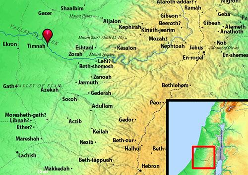 Map showing Timnah. Credit: BibleHub.com.