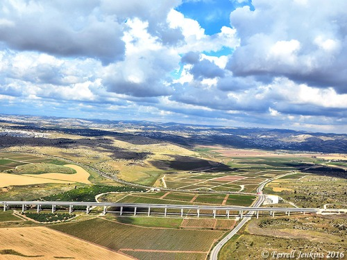 Aerial view of Aijalon (Ayalon) Valley. The view is to the north. The bridge is for the yet-to-open Tel Aviv-Jerusalem railway. Photo by Ferrell Jenkins.