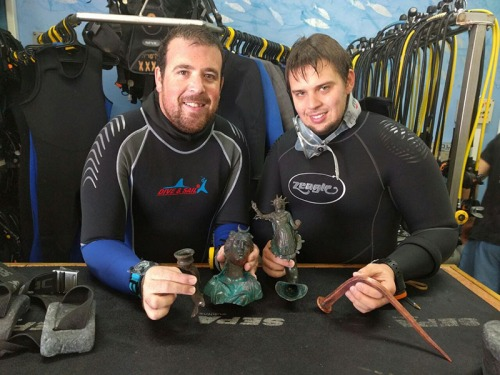 Divers Ran Feinstein (R) and Ofer Ra'anan after discovery. Credit: The Old Caesarea Diving Center.