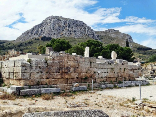 The Bema (judgment seat) in the Corinth agora, with the Acrocorinth in the distance. Photo by Charles Savelle.