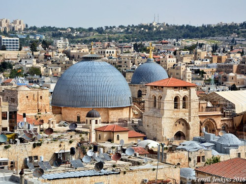 The gray domes of the Holy Sepulchre (left) and the site of Calvary (right) from the roof of the Citadel. Photo by Ferrell Jenkins.