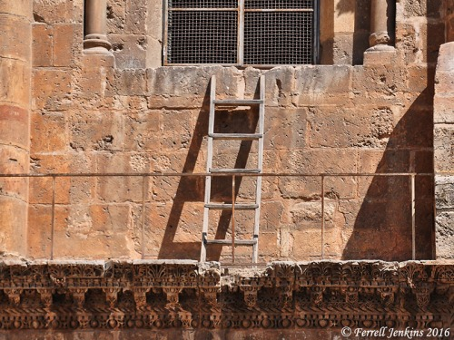 The ladder above the entrance to the church of the Holy Sepulcher. Photo by Ferrell Jenkins.