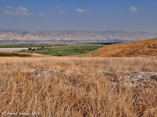View east from atop Tel Rehov. We see the Jordan Valley and the Gilead mountains. Photo by Ferrell Jenkins.