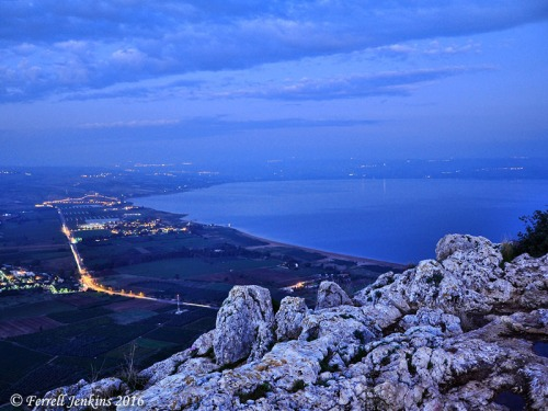 View from Mount Arbel showing the northern end of the Sea of Galilee shortly after sunset. Photo by Ferrell Jenkins.