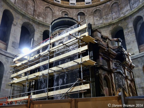 Repair of the shrine of the Holy Sepulcher, June 24, 2016.