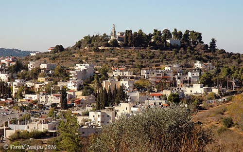 The hill towering above Abu Ghosh is the site of Kiriath-jearim. View west. Photo by Ferrell Jenkins.