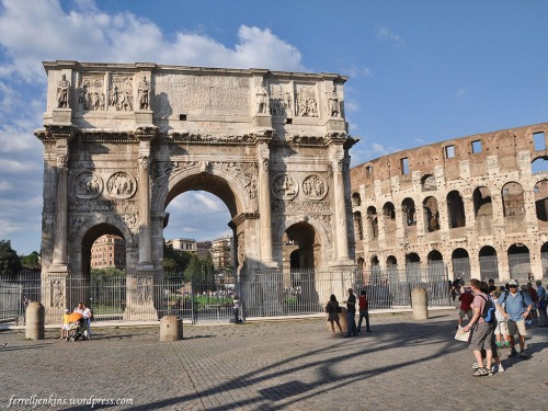 The Arch of Constantine with the Colosseum in the background. Photo by Ferrell Jenkins.