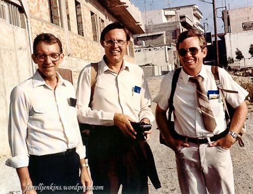 Melvin Curry, Ferrell Jenkins, Phil Roberts in Heraklion, Crete.
