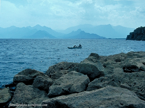 Early morning view of the coast of Pamphylia in 1987. Photo by Ferrell Jenkins.