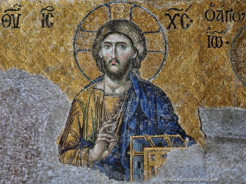The Deesis from Hagia Sophia in Istanbul shows Jesus enthroned with Mary and John the Baptist on either side. Photo by Ferrell Jenkins.