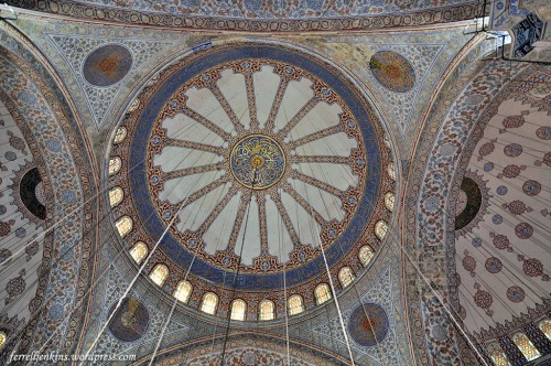 In the ceiling of the Blue Mosque is a good example of the tile of Iznik. Photo by Ferrell Jenkins.