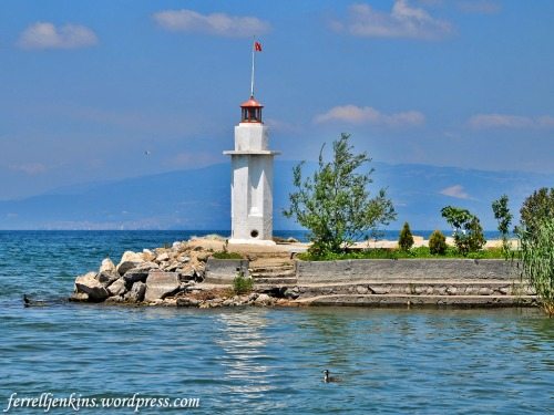 Lighthouse in Lake Ascania at Iznik. Photo by Ferrell Jenkins.