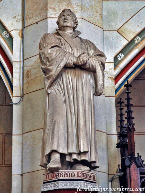 Luther Statue in the Castle Church in Wittenberg. Photo by Ferrell Jenkins.