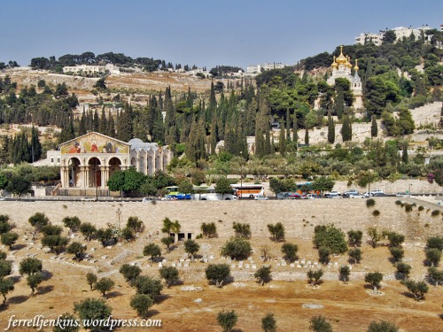 The Church of All Nations (left) and the Church of St. Mary Magdalene on the Mount of Olives. Photo by Ferrell Jenkins.