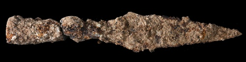 . A spearhead from the battle against Titus' army. Photographic credit: Clara Amit, courtesy of the Israel Antiquities Authority.
