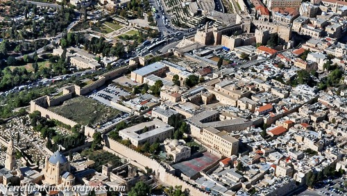 Aerial view of the Armenian Quarter. The area marked in yellow is the area of Herod's Palace. Photo by Ferrell