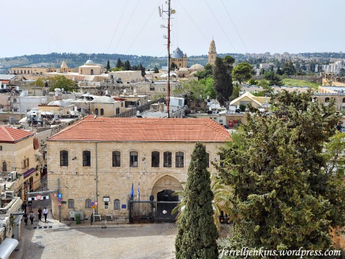 View north from the Tower of David. The building in the foreground is the prison. Photo by Ferrell Jenkins.