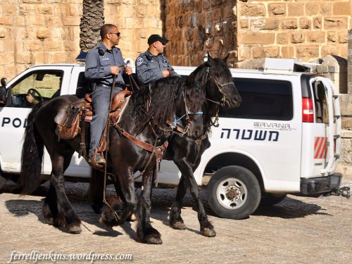 Mounted police in front of the prison. Photo by Ferrell Jenkins.