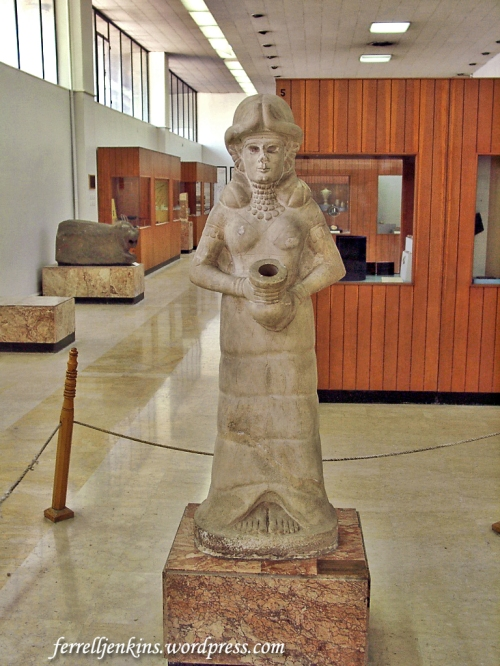 Amorite Spring Goddess displayed near the main entry of the Aleppo Museum. Photo by Ferrell Jenkins.