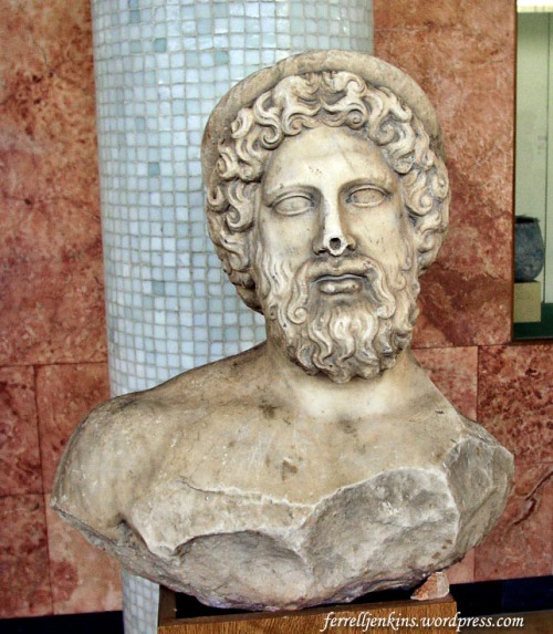 Bust of the god Asclepios. Photo by Ferrell Jenkins.